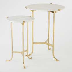 Plie Table - Polished Brass/White Honed Marble