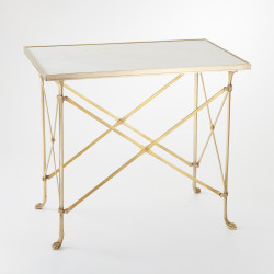 Rectangular Directoire Table - Brass & White Marble