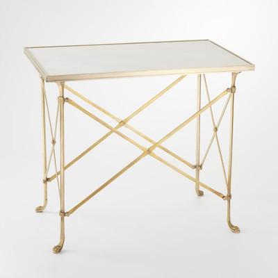 Rectangular Directoire Table - Brass & White Marble