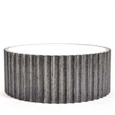 Reflective Column Cocktail Table - Black Cerused Oak
