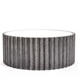 Reflective Column Cocktail Table - Black Cerused Oak