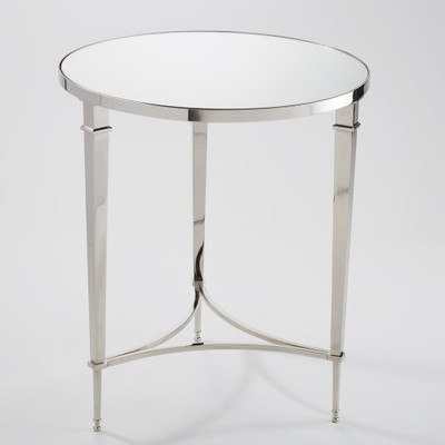 Round French Square Leg Table - Nickel & Mirror