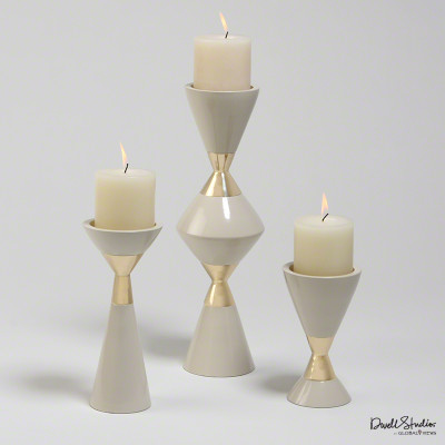 S/3 Hourglass Pillar Candleholders - Cream w/Gold