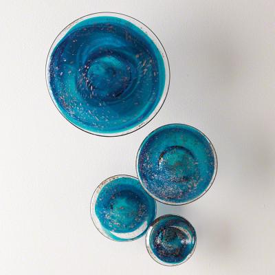 S/4 Glass Wall Mushrooms - Blue