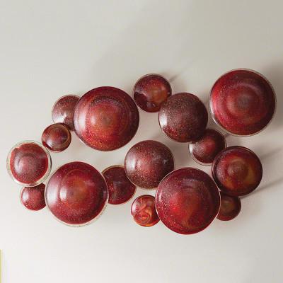 S/4 Glass Wall Mushrooms - Red/Orange