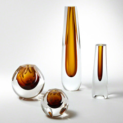 Square Cut Glass Vase - Amber