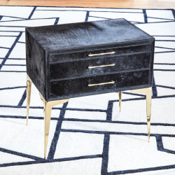 Stiletto Bedside Table - Black Hair - on - Hide