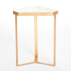 Tri - Hex Table - Gold Leaf - Marble