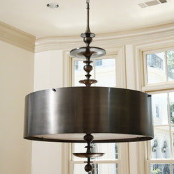 Turned Pendant Chandelier - Antique Bronze Finish - Sm