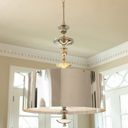 Turned Pendant Chandelier - Nickel - Lg