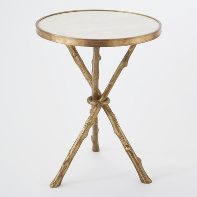 Twig Table - Brass & White Marble