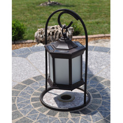 Solar Lantern Arch Stand Frosted Glass image 1