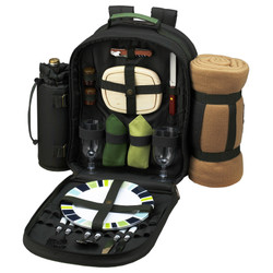 Two Person Backpack with Blanket - Forest Green image 1