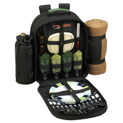 Four Person Backpack with Blanket - Forest Green image 1