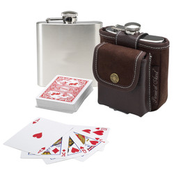 Hip Flask & Playing Cards Set - Brown image 1