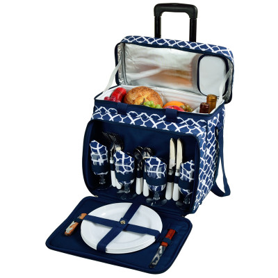 Deluxe Picnic Cooler for Four on Wheels - Trellis Blue image 1