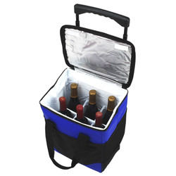 Divided Six Bottle Rolling Cooler - Royal Blue image 1
