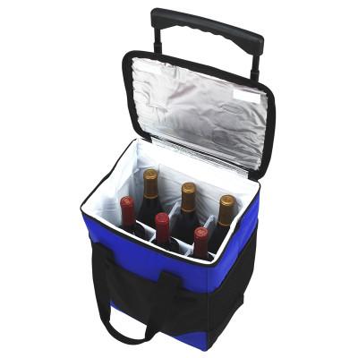 Divided Six Bottle Rolling Cooler - Royal Blue image 1