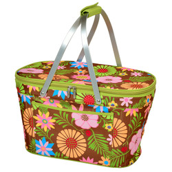 Collapsible Insulated Basket Cooler - Floral image 1