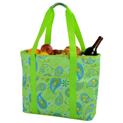 Extra Large Insulated Cooler Tote - Paisley Green image 1