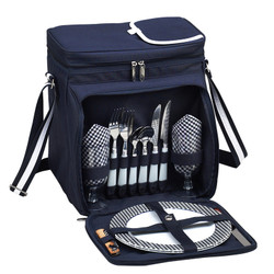 Equipped Picnic Cooler for Two - Navy image 1