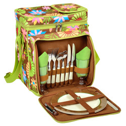 Equipped Picnic Cooler for Two - Floral image 1