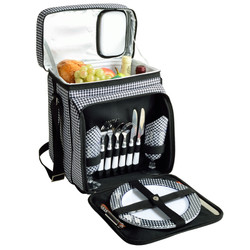 Equipped Picnic Cooler for Two - Houndstooth image 1