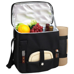 Wine & Cheese Cooler with Blanket - Black image 1