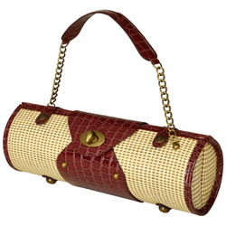 Wine Carrier & Purse - Straw/Brown image 1