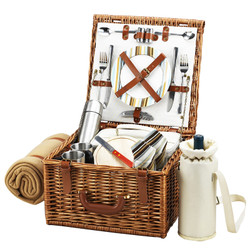 Cheshire Basket for 2 w/coffee set & blanket - Santa Cruz image 1