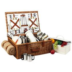 Dorset Basket for 4 w/coffee set & blanket - Santa Cruz image 1