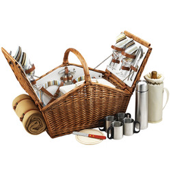 Huntsman Basket for 4 w/coffee set & blanket - Santa Cruz image 1