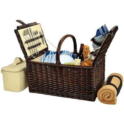 Buckingham Basket for Four with Blanket - Aegean image 1