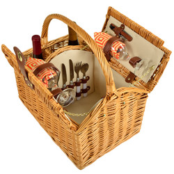 Vineyard Picnic Basket for Two - Diamond Orange image 1