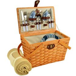 Frisco Picnic Basket For Two With Blanket - Aegean image 1
