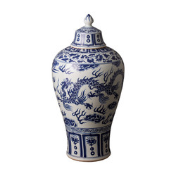 Lidded Meiping - Blue/White - Small
