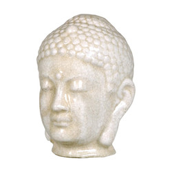 Buddha Head - White Crackle - Small