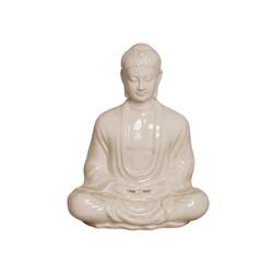 Meditating Buddha - White Crackle - Small