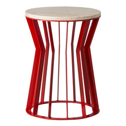 Millie Metal Stool/Table - Red