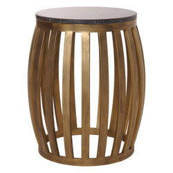 Meridian Metal Granite Stool - Gold