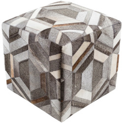 Surya Lycaon Cube Pouf - LCPF002 - Medium Gray, Dark Brown, Butter, Taupe, White