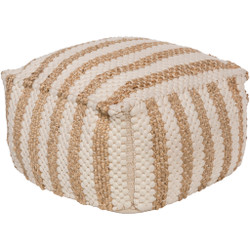 Surya Oak Cove Cube Pouf - OCPF4001 - White, Khaki