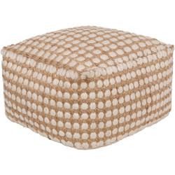 Surya Oak Cove Cube Pouf - OCPF4002 - White, Khaki