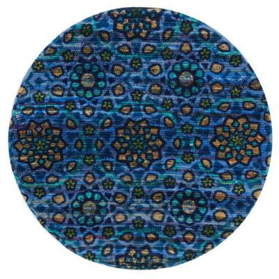 """Loloi Aria Rug  HAR09 Blue - 3'-0"""" x 3'-0"""" Round"""