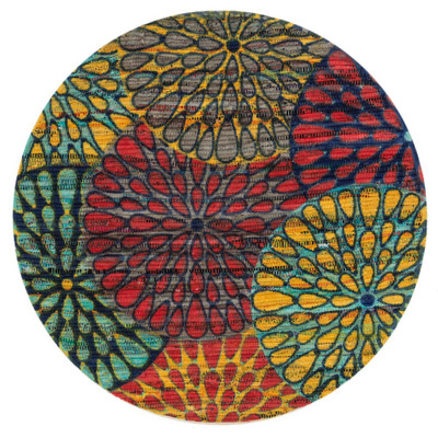 "Loloi Aria Rug  HAR19 Light Blue / Multi - 3'-0"" x 3'-0"" Round"