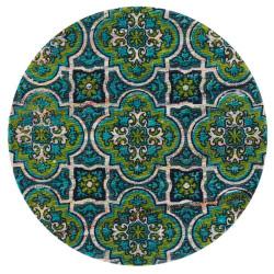 "Loloi Aria Rug  HAR27 Blue / Lime - 3'-0"" x 3'-0"" Round"
