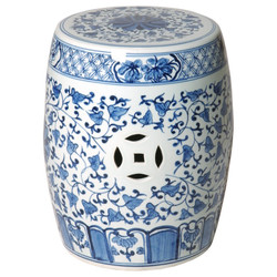 Stool Table - Blue/White