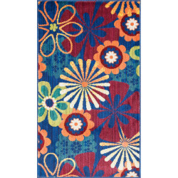 """Loloi Isabelle Rug  HIS01 Blue / Multi - 3'-0"""" x 3'-0"""" Round"""