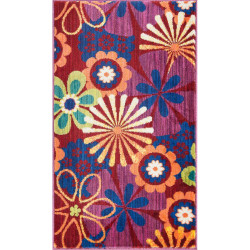 """Loloi Isabelle Rug  HIS01 Red / Multi - 3'-0"""" x 3'-0"""" Round"""