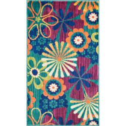 """Loloi Isabelle Rug  HIS01 Teal / Multi - 3'-0"""" x 3'-0"""" Round"""